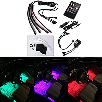 Xcellent Global 4x 30cm 18 SMD LED RGB Car Interior Light Strip Light Waterproof Glow Neon Decoration Lamp Sound-activated Remote Control + Car Charger, AT010 - low-cost UK light shop.