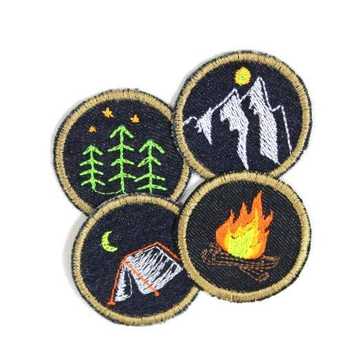 Flicken zum aufbügeln Set Natur Jeans patches 5cm ø Bügelbilder Feuer Wald Zelt Berg 4 Aufbügler Set Camping kleine runde Bügelflicken