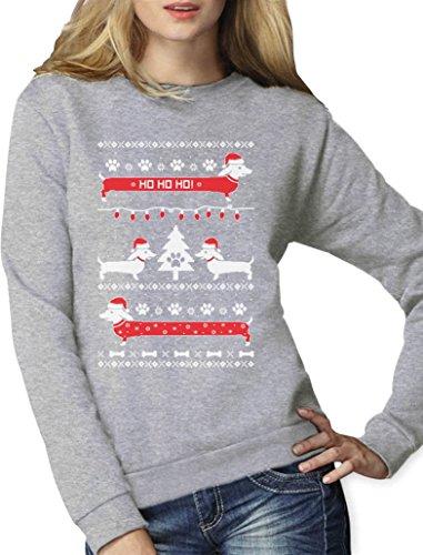 Weihnachtspullover Weihnachtsgeschenk Hundeliebhaber Dackel Frauen Sweatshirt Medium Grau