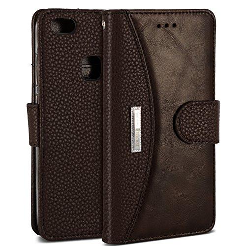 Huawei Honor P10 Lite Hülle, IDOOLS Leder Handyhülle mit Kartensteckplatz, Magnetisch Flip Brieftasche, Handyständer Funktion - Braun