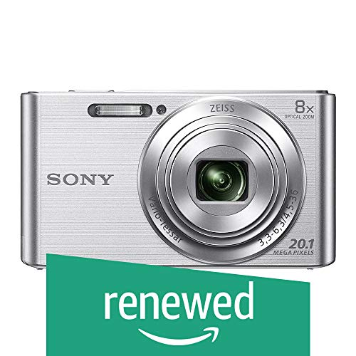 (Renewed) Sony SNY_W830PS_SIR Cybershot 20.1MP Digital SLR Camera (Silver) with 8X Optical Zoom, Memory Card and Camera Case