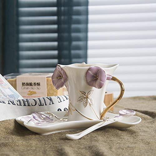 dbare Kaffeetasse, Emaille Kaffeetasse und Untertasse Set Morning Glory Tasse und Untertasse Elegantes Geschenk-Tassen-Set, lila ()