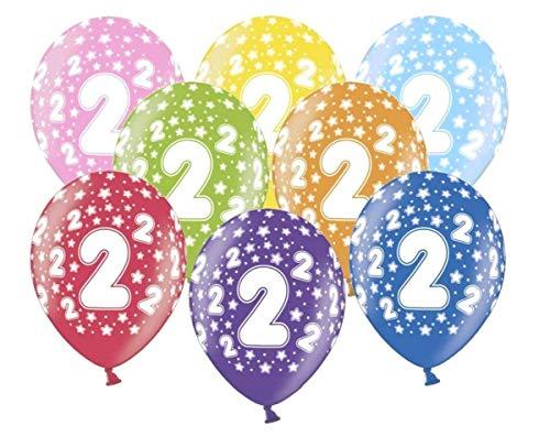 Libetui 10 kunterbunte Luftballons Metallic 30cm Deko zum 2. Geburtstag Party Kindergeburtstag Happy Birthday Dekoration (Zahl 2) (2. Party Geburtstag Dekorationen)