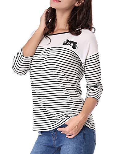 Allegra K Camiseta para Mujer con Paneles De Rayas Impresiones del Gato Bloque De Color - Blanco/XS (US 2), XS (EU 32)