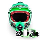 "ARMOR · AKC-49 Set ""Limited GREEN"" (GRÜN) · Kinder-Cross Helm · Moto-Cross Off-Road Motorrad Sport Enduro Kinder · DOT certified · Click-n-Secure Clip · Tragetasche · XS–XL (51-60cm)"