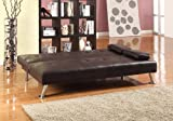 Large Stunning Italian Designer Faux Leather 3 Seater Sofa Bed Futon in CHOCOLATE BROWN