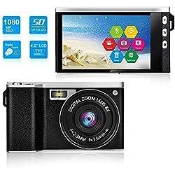 Tenlso X9 Appareil Photo Numérique 4K, Caméscope Caméra Tactile Réversible Mince, Grand Ecran de 4,0 Pouces, 1080P Full HD, 24 Mégapixels, Zoom de 8 Fois, Supporte Le Français