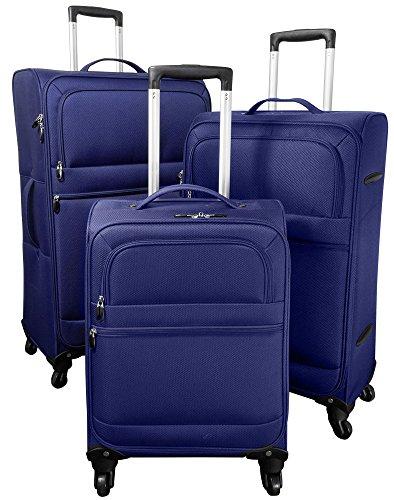 Kofferset 3tlg extraleicht Weichgepäck Farbe blau Nylongewebe Größen S M L Trendyshop365