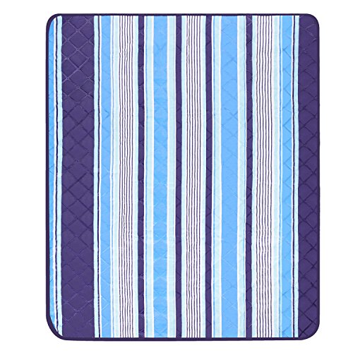 Große Maschinenwaschbar Picknick Decke, 150x 135cm Outdoor Strandmatte Tote tragbar leicht (blau) (Seite Zelle Tasche)