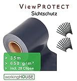 Sichtschutzstreifen VIEWPROTECT PREMIUM - ANTHRAZIT 650 g/qm, Zaunfolie 35m x 19 cm, hochwertig stabil blickdicht, original workingHOUSE
