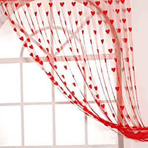 Homefab India Set of 2 Red Heart Curtains