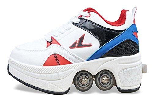 LBY Multifunktionale Deformation Schuhe Quad Skate Rollschuhe Skating Outdoor Sportschuhe für Erwachsene, 37
