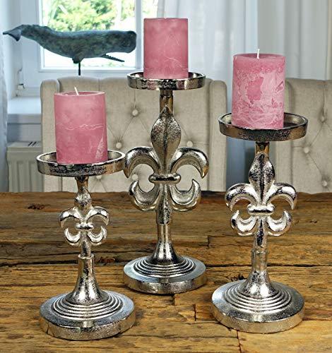MichaelNoll 3er Set Kerzenständer Lilie Kerzenhalter Aluminium Silber H 23 cm / 28 cm / 32 cm