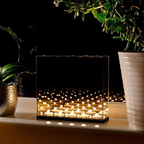 Teelicht Spiegel (Maison & White Infinity Teelicht Kerzen Box | Spiegel für optische Täuschung dekorieren Dark Glass Magic-Effekt | Perfektes Geschenk)