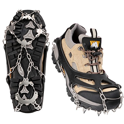 MoKo 19 Spikes Ice Crampon, Outdoor Footwear Traction Cleats Protect Safe Anti-slip Snow Grip for Walking, Hiking, Jogging, Trekking and Mountaineering - Large, Black
