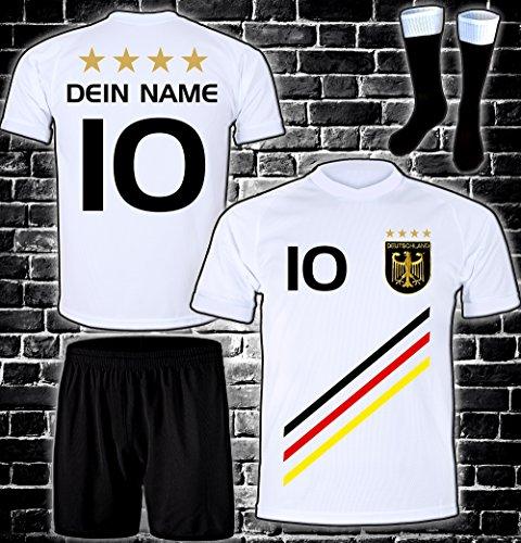 ElevenSports Deutschland Trikot + Hose + Stutzen mit GRATIS Wunschname + Nummer + Wappen Typ #D 2018 im EM/WM Weiss - Geschenke für Kinder,Jungen,Baby. Fußball T-Shirt personalisiert
