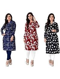 Kesari King Women's A-Line Crepe Printed Semi-Stitched Kurti Material (Multicolour, Free Size) - Pack of 3