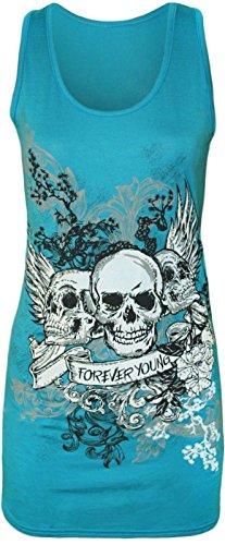 Damen Totenkopf 'Forever Young' Druck Racerback Ärmellos Lang Tank Top - 6 Farben - Größe 36-42 (M/L(40-42), Turquoise)