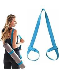 Yoga Mattengurt, verstellbar, strapazierfähiger Baumwoll-Yoga Trageriemen, Blau-Violett