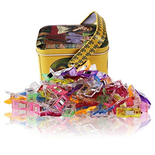 100 Stück Mehrzweck-Wunderklammern zum Nähen, Quilten, Häkeln, Basteln und Stricken, in Blechbox, verschiedene Farben.
