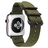 Gemony Apple Correa de Reloj 38mm 42mm Hombres Mujeres Nylon Reemplazo Correa de muñeca Resistente NATO Loop Buckle Compatible Apple iWatch Series 4 3 2 1(WBA-013G42, Greem, 42mm)