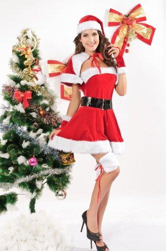Dear Lover Damen Samt Miss Santa Kostüm Gr. One Size, (Samt Miss Santa Kostüme)