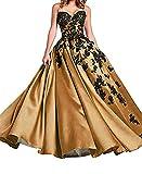 O.D.W Damen Spitzenkleid A-Linie Vintage Party Brautkleider Gotisch Mittelalterliches Hochzeitskleider(Schwarz+Gold, 44)