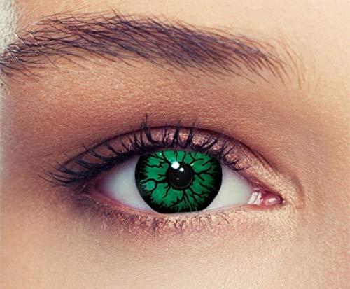 PHANTASY Eyes® Farbige Kontaktlinsen, Ohne Stärke Grün (Green Dämon/Hulk) Cosplay perfekt zum Halloween und Karneval, Jahres Linsen, 1 Paar crazy fun Contact linsen + (Sauron Cosplay Kostüm)