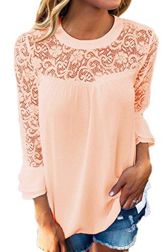 Jumojufol Damen Sommer T-Shirts Elegante Casual 3/4 Ärmel Scoop Hals Spitzen Patchwork Aushöhlung der Bluse Apricot S