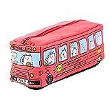 Astuccio Scuola tela stile di autobus Custodia Organizzatore dei cosmetici di viaggio Zipper borsa pochette piccolo portamonete, 19 X 6.5 X 6 cm - Rosso
