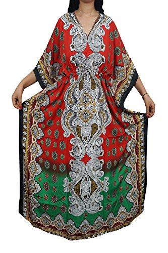 Indiatrendzs Women Kaftans Light Viscose Fabric Evening Wear Cover Up Kimono Maxi Kaftan Dress 56\ (Red/Green)