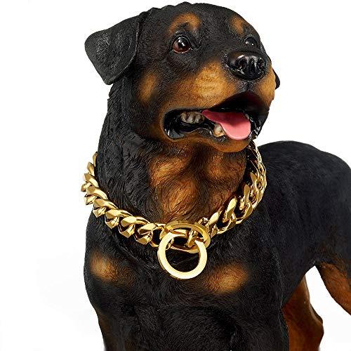 MUJING Hundehalsband groß 19mm Hochleistungs-Edelstahl Gold Big Dog Choke Training Designer Kragen Halskette Kette Perfekt für Starke Hunde,D -