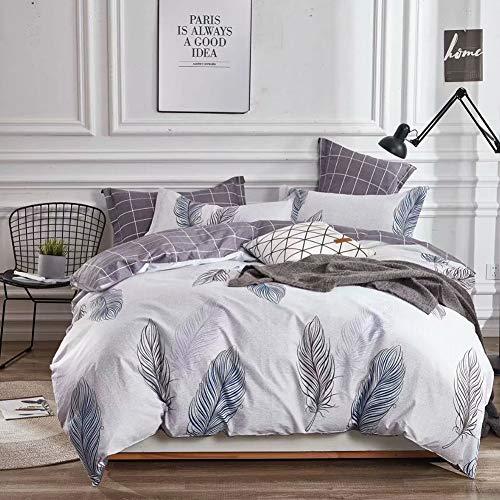 Lila Einzelbett (KEAYOO Bettwäsche 135 x 200 cm mit Elegantem Federmuster 100% Bauwolle 2 Teilig Wendebettwäsche für Einzelbett Hell Lila mit reißverschluss)