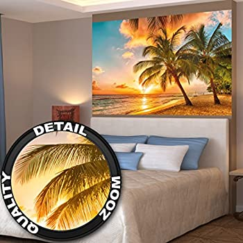 barbados beach at sunset wall decoration mural sandy. Black Bedroom Furniture Sets. Home Design Ideas