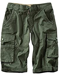 Vertvie Men's Shorts Cotton Casual Camouflage Summer Cargo with Multi Pockets