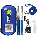 WOLFTEETH 2 Pack CE4 E Sigaretta Starter Kit | 1100mAh Batteria CE4 Atomizzatore Ricaricabile | Sigaretta Elettronica Vaporizzatore Caso Set | Senza Liquido Nicotina Tabacco Blu / 1254