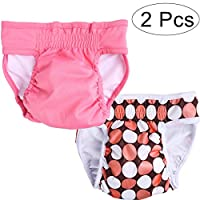 UEETEK Female Pet Dog Puppy Hygiene Diaper Pants Washable Reusable Nappy Pants Size S 2PCS (Rose Red)