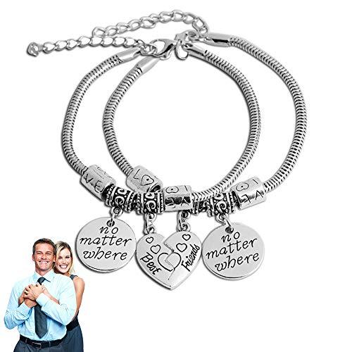 """Bester Freund Broken Heart Armband Split Hände der Kette Design Suite Freundschaft Armband Einzigartiges Geschenk-Buch""""Wo?"""" Armband Set 2-Silber"""
