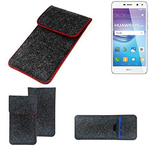 K-S-Trade® Filz Schutz Hülle Für -Huawei Y6 2017 Single SIM- Schutzhülle Filztasche Pouch Tasche Case Sleeve Handyhülle Filzhülle Dunkelgrau Roter Rand