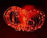 ERGEOB Lichterkette Weihnachtsdeko 100er LED 10M Silberdraht Weihnachtsbaum Lichterketten Garten Weihnachtsbeleuchtung rot