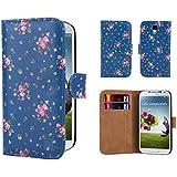 Samsung Galaxy S4 Funda Diseño Floral Carcasa Flip de Piel PU Tipo Libro Billetera con Tapa y Tarjetero de 32nd®, incluye protector de pantalla y paño de limpieza - Vintage Rose Indigo