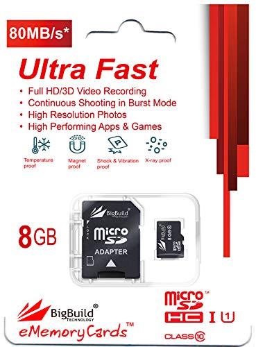 BigBuild Technology 8GB Ultra schnelle 80MB/s Klasse 10 MicroSD Speicherkarte für Denver TAQ-10182 Tablet, SD Adapter ist im Lieferumfang enthalten