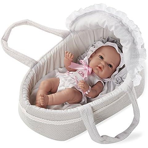 Arias - Muñeca bebé Natal, con elementos swarovski y capazo, color gris, 33 cm (90105)