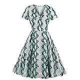 Heatnine Frauen Kurzarm Schlange Print Vintage Abend Party Kleid