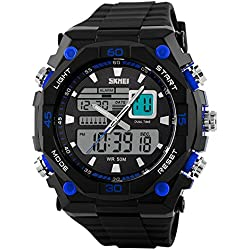 Waterproof Casual Quartz LED Display Digital Analog Black Rubber Strap Watch