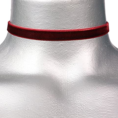 Twilight's Fancy 3/8 Plain Dark Red Burgundy Velvet Choker Necklace -- Size Small by Twilight's