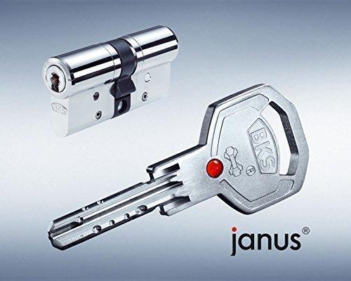 BKS Profilzylinder Janus 46 ink. Sicherungskarte und 5 Schlüssel - 31 / 35 messing vernickelt mit Not und Gefahrenfunktion