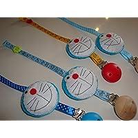 Porta ciuccio con clip Doraemon - catenella ciuccio - idea regalo nascita
