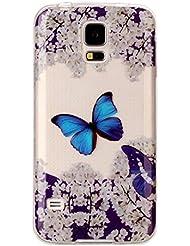Galaxy S5 Hülle Silikon, Samsung Galaxy S5 Neo Case, Rosa Schleife Ultra Dünn Clear Schutzhülle Schale Case für Samsung Galaxy S5 / S5 Neo Tasche Premium TPU Silikon Backcover Schutz Bumper Handyhülle mit Schöne Muster, Blauer Schmetterling