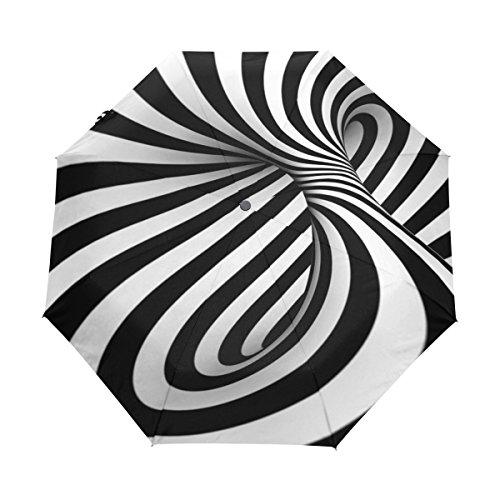 COOSUN Schwarzweiß Abstrakt Spirale Automatische 3 Folding Sonnenschirm-Regenschirm Farbe # 001